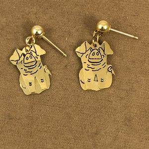 Vintage Accessories - 14 Karat 4MM Ball Post Dangle Little Pig Earrings